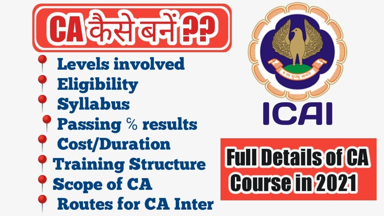 Complete CA Course Details 2021-2022 levels involved eligibility syllabus passing percenatge required cost duration training structure scope of ca routes for ca itner